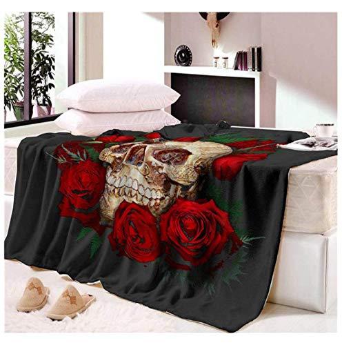 Manta para tomar una siesta Manta suave y cómoda Manta de calavera de flores Sofá de viaje Manta de sofá suave y cálida 150 * 200 cm