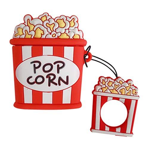 PRETYZOOM Étui pour Écouteurs sans Fil Forme de Boîte à Pop-Corn Étui pour Écouteurs Porte-Clés Boîte de Transport Compatible pour Airpods 1/2