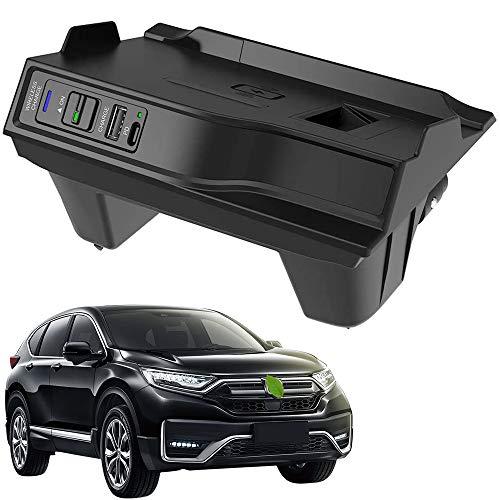 Nuevo Cargador Inalámbrico Coche Auto para HONDA CR-V/CR-V Hybrid 2017-2019 Consola Central Panel, 15W Qi Carga Rápida Teléfono Cargador con USB y 18W PD para iPhone 12/11/X Samsung S20/S10