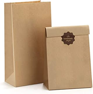 BagDream Paper Lunch Bags 4lb 100Pcs Snack Bags, Craft Bags, Bread Bags, Sack Lunch Bags Bulk 5x2.95x9.45 Inches Recycled Brown Paper Bags