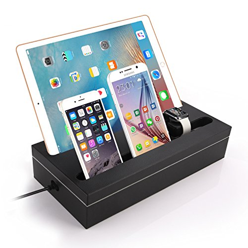 Masvoker Apple Watch Charging Stand, Apple Watch Charging Dock Station with 6-Port Smart USB Charger for iPad/iPhone / Tablet and Apple Watch