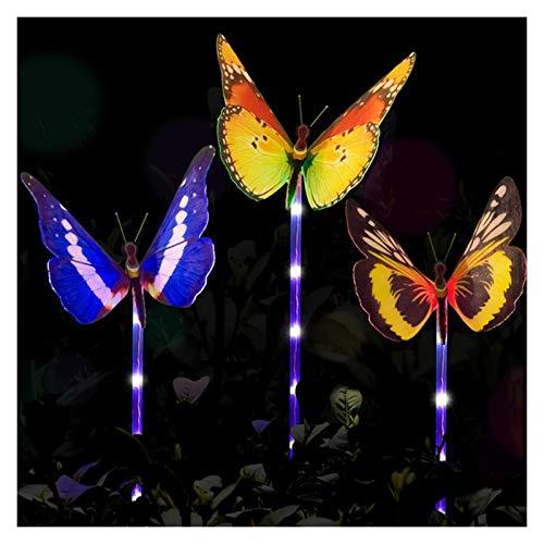 YSYSPUJ Lámpara de césped 3 unids LED Luces de jardín Lámpara de Mariposa con energía Solar al Aire Libre Iluminación Impermeable de Paisaje a Prueba de Agua para la decoración del césped del Patio