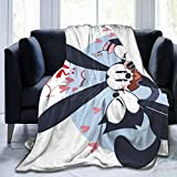 CERYS RILEY Osw-ald The Lucky Rab-bit Comfortable Ultra-Soft Micro Fleece Blanket Black 50'' x40