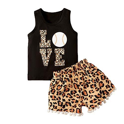 Moent Conjunto de trajes para niñas, recién nacidos, niños y niñas, sin mangas, pantalones cortos con estampado de leopardo, ropa para el día de San Valentín para niño y niña