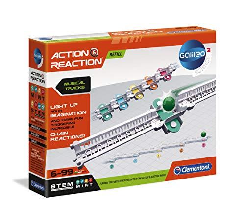 Clementoni 59168 Galileo Science – Action & Reaction Sound-Schienen, spektakuläres Zubehör für die Kugelbahn, erweiterbarer Baukasten, Spielzeug für Kinder ab 6 Jahren
