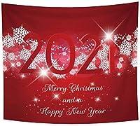 ファッションタペストリーメリークリスマスと2021年明けましておめでとうございます手紙スノーフレーク印刷壁掛けホームリビングルームの装飾150cmX130cm
