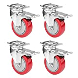 4' Swivel Plate Caster Wheels, PRITEK Heavy Duty...