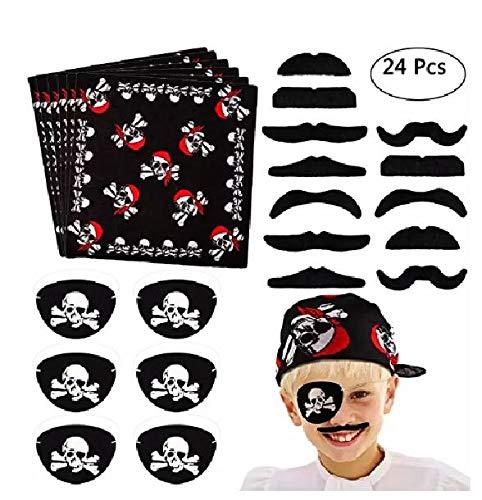 Fiesta Pirata Set 24 Partes - pañuelos para la Cabeza, Barba y Parches para los Ojos en Pirate Design - para niños y Adultos Fiestas temáticas y cumpleaños