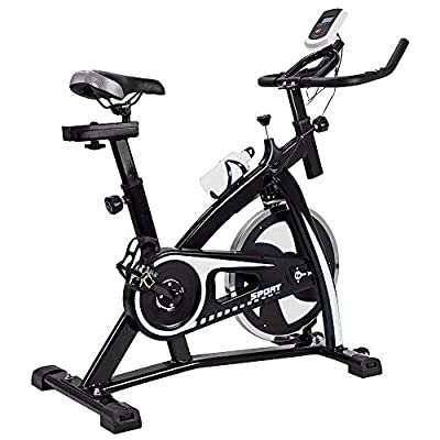 Indoor Cycling Bike Stationary - Exercise Cycle Bike with Water Bottle & Comfortable Seat Cushion (FB001 White)