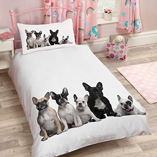 Arts Language Single Bedding Duvet Cover 2 Pcs Set Queen Size for Kids/Boys/Girls French Bulldog Comforter Cover Quilt Cover Set, Ultra Soft,1 Duvet Cover with Zipper Closure and 1 Pillow Shams