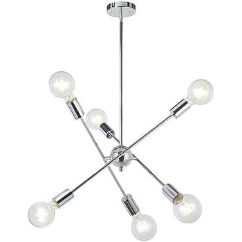 BONLICHT Modern Sputnik Chandelier Lighting 6 Lights Brushed Brass Chandelier Mid Century Pendant Lighting Gold Ceiling Light Fixture for Hallway Bar