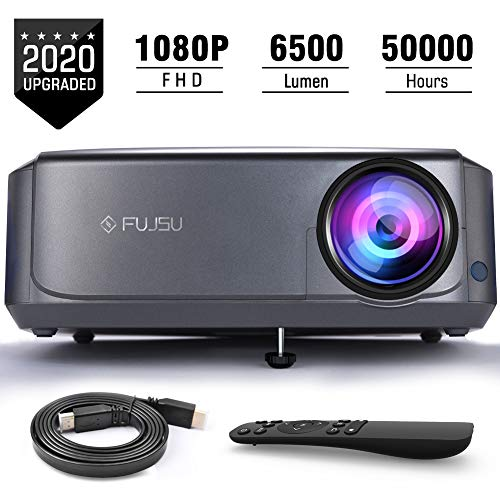 Beamer Full HD, FUJSU 6500 Lumen Heimkino Beamer für TV Stick,HDMI, USB, VGA, SD, AV, Laptop, PS4, Xbox, iOS/Android Smartphone Projektor, Office Powerpoint Präsentationen Beamer