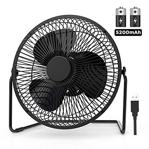 EasyAcc Ventilatori da Tavolo, 5200mAh Batteria Ventilatore USB 9 Pollici Ricaricabile Silenzioso Mini Portatile USB Personale da Tavolo Ventilatore 4 Velocità 360 gradi per Esterno Campeggio BBQ-Nero