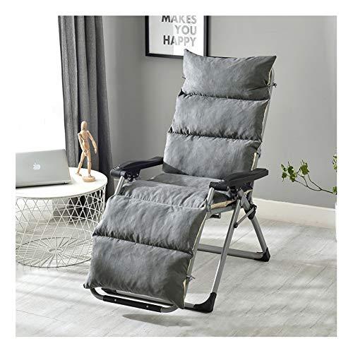 Chaise Lounge, cuscino per sedia a dondolo in vimini, spesso scamosciato, cuscino per sedia a dondolo per interni ed esterni, tappetino Tatami rimovibile e lavabile 175x50cm grigio