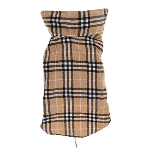 Generic Cane Impermeabile Inverno Cappotto Giacca A Quadri Reversibile Vestiti Caldi - Beige, S