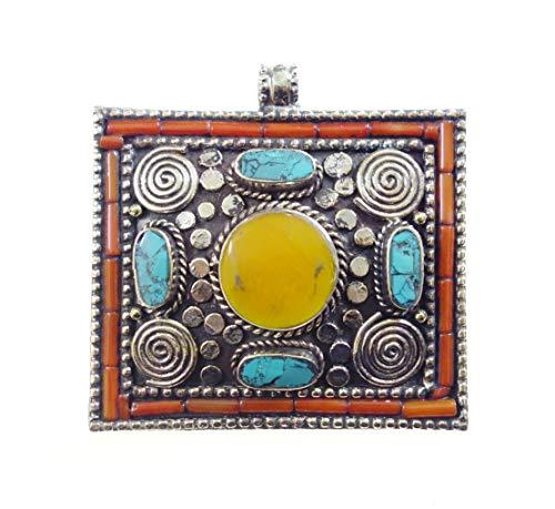 Auténtico Hecho A Mano Tibetano Boho Collar Con Colgante Para Mujeres Hombres Diseñador Moda Tribal Ámbar Turquesa Coral Piedras Preciosas Colgante Oxidada Chapado En Plata Joyería Por Artesan