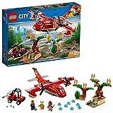 LEGO CityFire AereoAntincendio, Set con Aeroplano, Buggy, 3 Minifigure dei Vigili del Fuoco, Puzzola e Alberi in Fiamme da Costruire, Giocattoli Ispirati ai Pompieri per Bambini, 60217