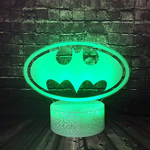 Batman Logo Night Light for Boy Bedroom Legend Justice League Cartoon Shape 3D Optical Illusion LED Table Lamp Decor Home 7 Color USB Cable Change Holiday Birthday Gift for Kid Toy