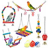 iSbaby Bird Parakeet Toys,Swing Hanging Standing Chewing Toy Hammock Climbing Ladder Bird Cage Colorful Toys Suitable for Budgerigar, Parakeet, Conure, Cockatiel, Mynah, Love Birds, Finches