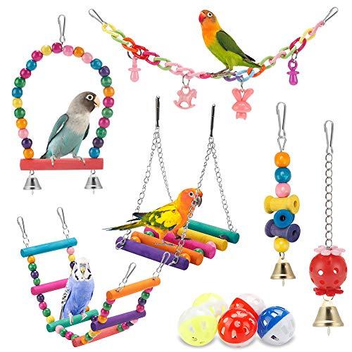 Bird Parakeet Toys,Swing Hanging Standing Chewing Toy Hammock Climbing Ladder Bird Cage Colorful...