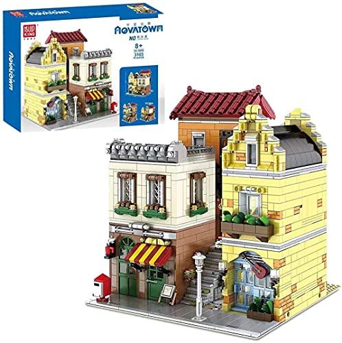 Juego de 3103 piezas Street View Cafe House Modelo Ladrillos con Luz Compatible con Lego, MOC DIY Arquitectura Educativa Bloque de Construcción Pequeño Conjunto de Particles Juguete de Construcción