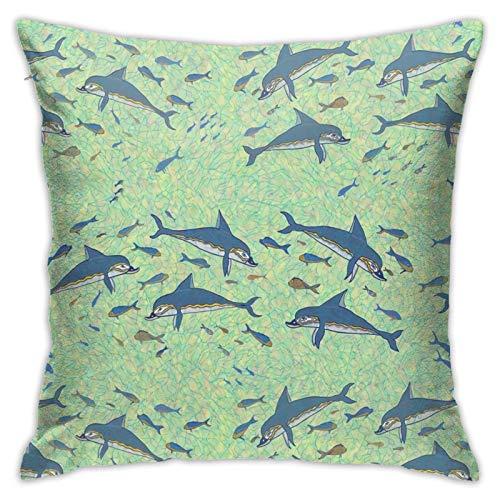 Min Dolphins Akrotiri - Funda de almohada moderna para sofá, cama, silla, coche, 45,7 x 45,7 cm