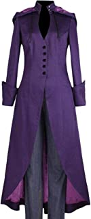 Doanpa Womens Medieval Tailcoat Steampunk Fit Hoode Gothic Trench Coat