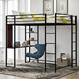 Full Size Metal Loft Bed with 2 Shelves and one Desk,Black