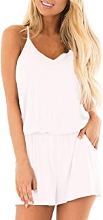 Bluetime Womens Rompers with Pockets Casual Beach Summer Outfits Spaghetti Strap Short Jumpsuits