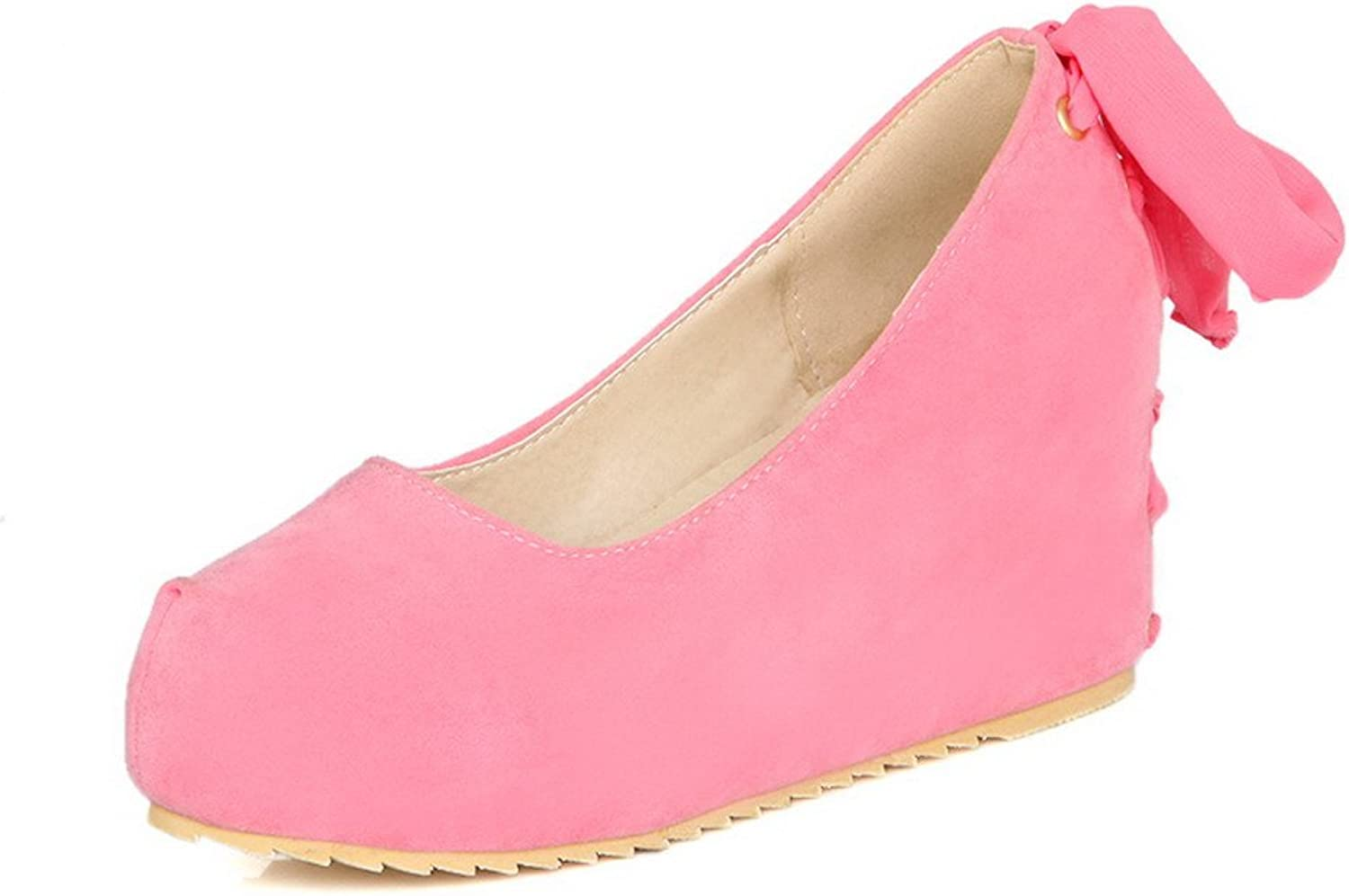 WeenFashion Women's High Heels Solid Pull-On Round Closed Toe Pumps-shoes