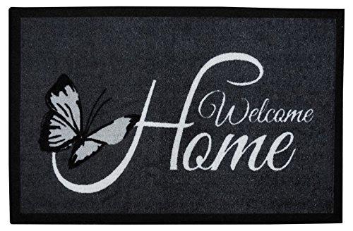 Fußmatte Schmutzfangmatte grau anthrazit Schmetterling Welcome Home 45 x 75 cm, waschbar bei 30 Grad