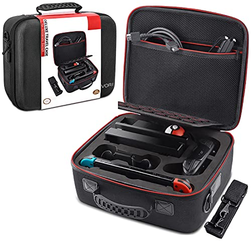 VORI Carrying Case for Nintendo Switch/Switch OLED Model (2021), Hard Travel Storage Protective Case with Handle and Shoulder Strap for Pro Controller, Poke Ball Plus and Switch Accessories, Black