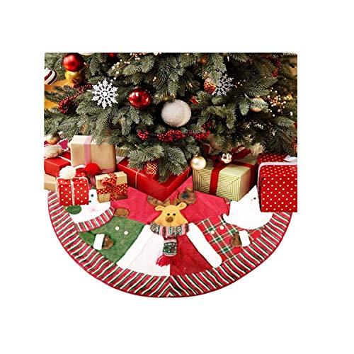 Jute Kerstboom Rok Santa Sneeuwman Rendier Kerstboom Jurk Gift voor Feestelijke Woondecoratie Niet-geweven Boommat