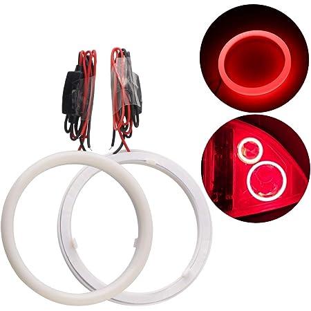 Qasim 1 par de LED COB Angel Eyes Anillos de Halo con Cubierta de Pl/ástico 60MM Blanco 45SMD para Coche Moto DRL Faros Antiniebla Diurna DC 12V