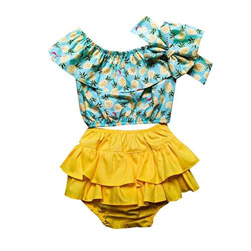 Ropa Conjuntos 3 Piezas para Bebé Recién Nacido Niña 1 Camiseta de Hombro +1 Pantalones Cortos +1 Diadema con Estampado Estilo Casual (Piña, 100)