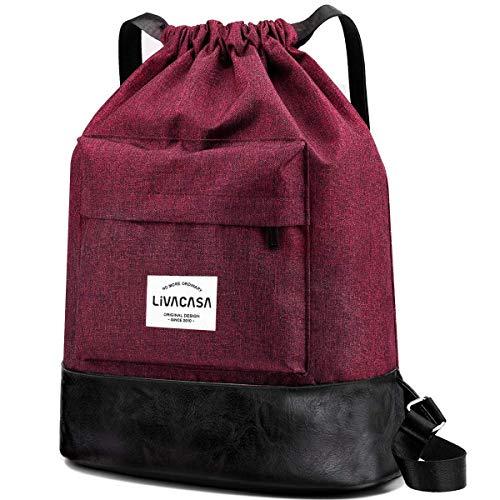 LIVACASA 13L Sac à Cordon Large de Yoga Impermeable en Oxford Sac de Gym à Bretelles Étanche Pliable Sac à Dos à Cordon pour Sport Ecole Natation Piscine Plage Camping Voyage Rouge avec Poche