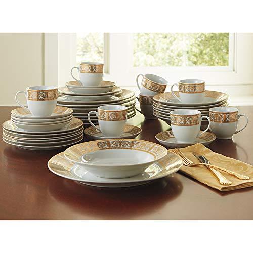 BrylaneHome Medici 40-Pc. Golden Ceramic Dinnerware Set , Gold White