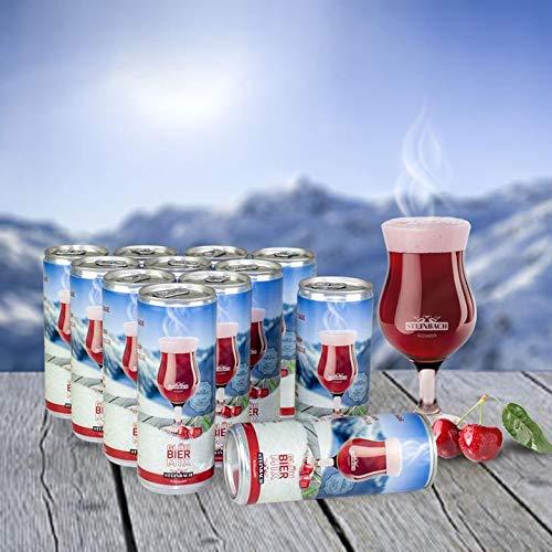 STEINBACH GLÜHBIER - MIX · HEISSES DUTZEND   12 x 0,25L (inkl. Pfand) + 1 Glas   Heisse Winterliebe   mit Kirschnektar und Wintergewürzen   4,5% vol. alc.