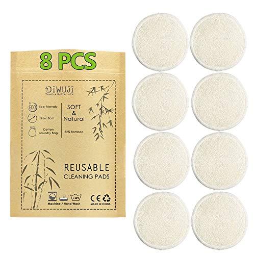 8 Pieza Almohadillas Desmaquillantes Reutilizables Discos De Maquillaje Bambú Algodón, Algodón Orgánico Microfibra Maquillaje Ojos Lavable, Super Suave Absorción Almohadillas De Paño De Lavado