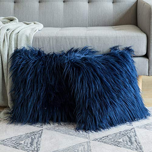 MIULEE Fluffy Cushion Cover Faux Fur Throw Soft Solid Decorative Square Plush Mongolian Cute Pillow Case For Sofa Bedroom Car 18 x 18 Inch 45 x 45 cm Navy Set of 2