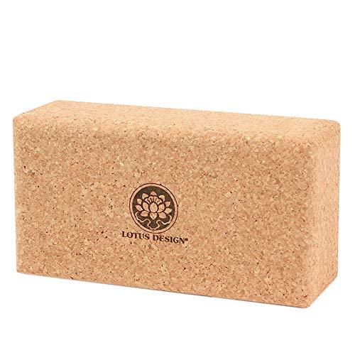 Lotus Design Yogaklotz Kork, 100% Naturkork Yoga Klötze ökologisch hergestellt - Yogazubehör Yogablock Kork für Yoga und Pilates – Korkblock mit Super Grip für Anfänger und Fortgeschrittene