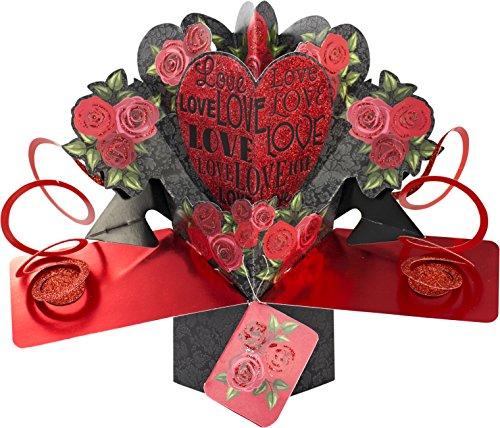 Suki Gifts International - Tarjeta de felicitación desplegable, Multicolor, diseño Amor y Rosas