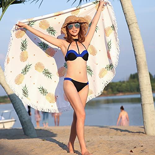 WYZDQ Toalla De Playa Redonda Manta De Playa De Microfibra De Piña Toalla De Playa Redonda Grande para Niños, Mujeres, Hombres, Niños Y Niñas, 59 Pulgadas,A