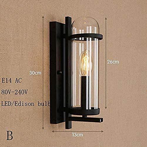 Meixian Wandlamp voor binnen, loft ijzeren wandlampen, industrieel vintage, glas, lampenkap, E14-led, wandlampen voor thuis, keuken, woonkamer, slaapkamer, badkamer, B eenvoudig retro