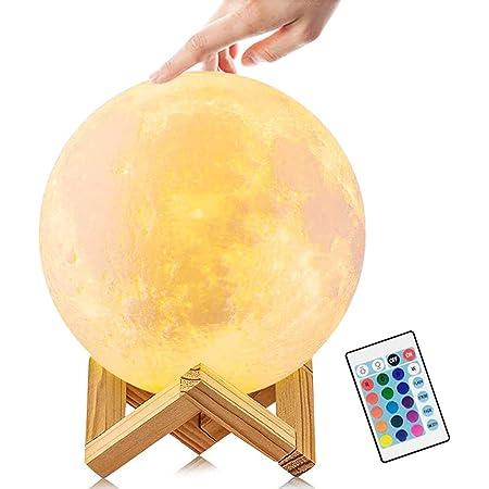 JORLAI Lampe Lune 3D, 16 Couleurs Lampe Chevet Lune, Lune Veilleuse Rechargeable USB, 15cm Éclairage Télécommande Veilleuse Bébé, Décor À La Maison Lumières de Noël