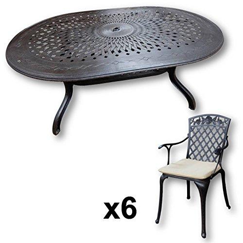 Lazy Susan - Jessica 180 x 115 cm Ovaler Gartentisch mit 6 Stühlen - Gartenmöbel Set aus Metall, Antik Bronze (Rose Stühle, Beige Kissen)