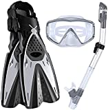 Diving mask Diving Masks Dry Snorkel Set Adjustable Panoramic Wide View Diving Deep Diving Snorkeling Professional Snorkelling Gear with Flippers for Adults and Kids