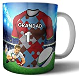 AK Giftshop Taza de té y café, Regalo de Rugby para un Abuelo, diseño de arlequines