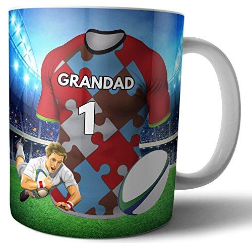 AK Giftshop Harlequins Kaffeetasse, Rugby-Geschenk für einen Großvater, Farben