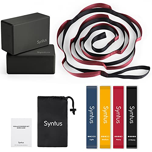 Syntus 9-in-1 Yoga Set, 1 Yoga Strap with 12 Loops, 2 EVA Foam Soft Non-Slip Yoga Blocks 9×6×4 inches,4 Resistance Bands with Instruction Book for Yoga, Pilates, Stretchings (Black)